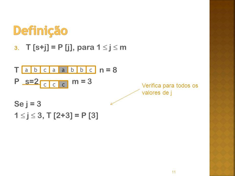 Definição T [s+j] = P [j], para 1 ≤ j ≤ m T n = 8 P s=2 m = 3 Se j = 3